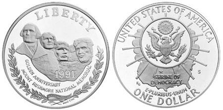 1$ Mount Rushmore 1991, proof